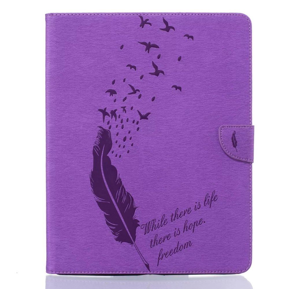 Purple Embossed feather Luxury Classical Style pu Leather Case For apple iPad mini2 3 4 ipad2 3 4 Air1 2 case free shipping ...