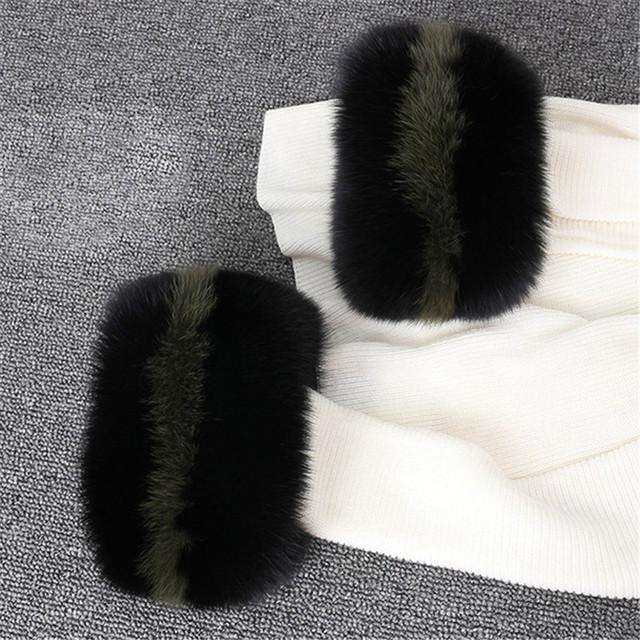 Fox fur Cuffs Wrist Warmer Bracelet