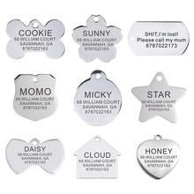 Personalized Pet ID Tag Engraved Stainless Steel Name Tags Collar Accessories Pendant Customized For Dogs Cats