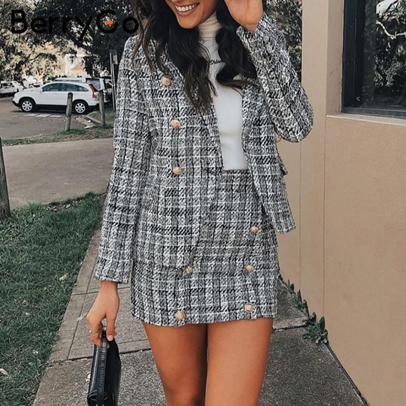 BerryGo Two-piece plaid tweed women blazer suit Casual streetwear suits female blazer sets Chic office ladies blazer skirt suits