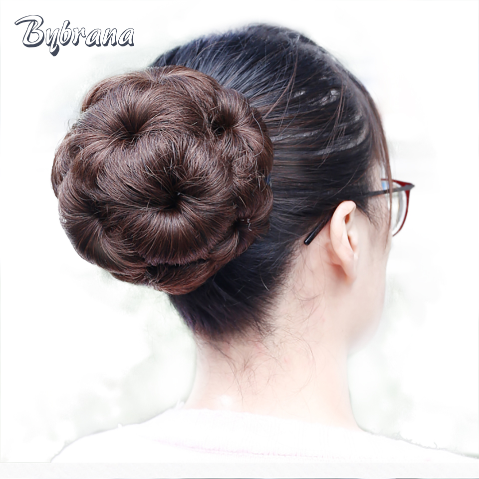 Bybrana 5 Colors Remy Hair Chignon Bun Donut Brazilian Hair Chignon Clip In Hairpiece Extensions