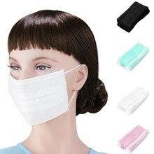 Новые 50 шт одноразовые ушные маски со ртом для лица 3 слоя Анти-пыль для хирургического медицинского салона DC88