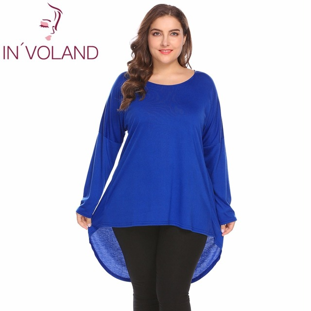 4d78fd6f752 IN VOLAND Large Size 4XL Women T-Shirts Tops Autumn Batwing Sleeve Solid  High Low Hem Pullovers Loose Fit Tshirt Tees Plus Size