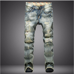 fe197a647f8 asmpin hole red denim trousers mens jean male long pants