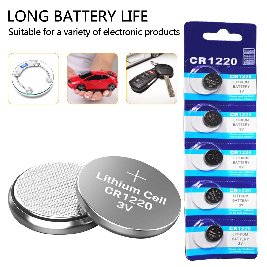 10PCS CR1220 Alkaline Button Battery Lithium Coin Cell 3V DL1220 BR1220 LM1220 for Watch Toy Remote control
