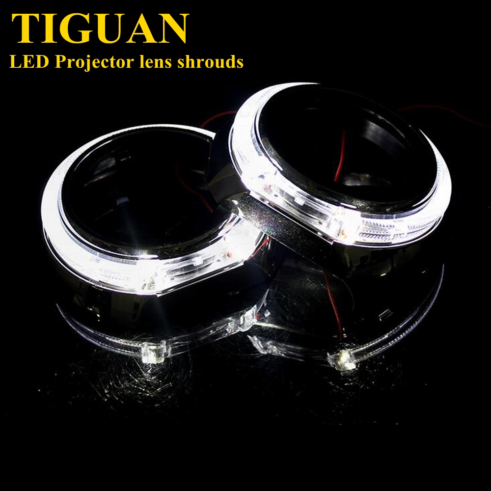 2pcs 3.0 inch for tuguan  led day running angel eyes  Projector lens shrouds white color H1 H4 H7 hid xenon kit headlight mp620 mp622 mp625 projector color wheel mp620 mp622 mp625