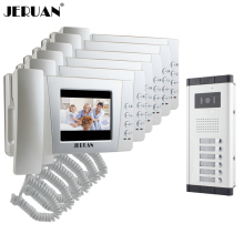 JERUAN Apartment 4.3 inch TFT Video Door Phone Intercom System 6 Handheld Monitor 700TVL IR Vision Camera for 6 Call Button