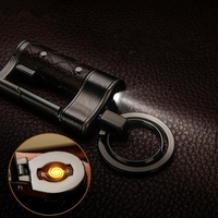 New Key Chain Multi Functional Ignition Lighter Leather Keyring With LED Lights Authentic Outdoor Portable Charger