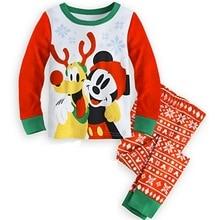 2-7 Years Baby Boy Girl Santa Christmas Long Sleeve T Shirt + Pants Cotton Pajama
