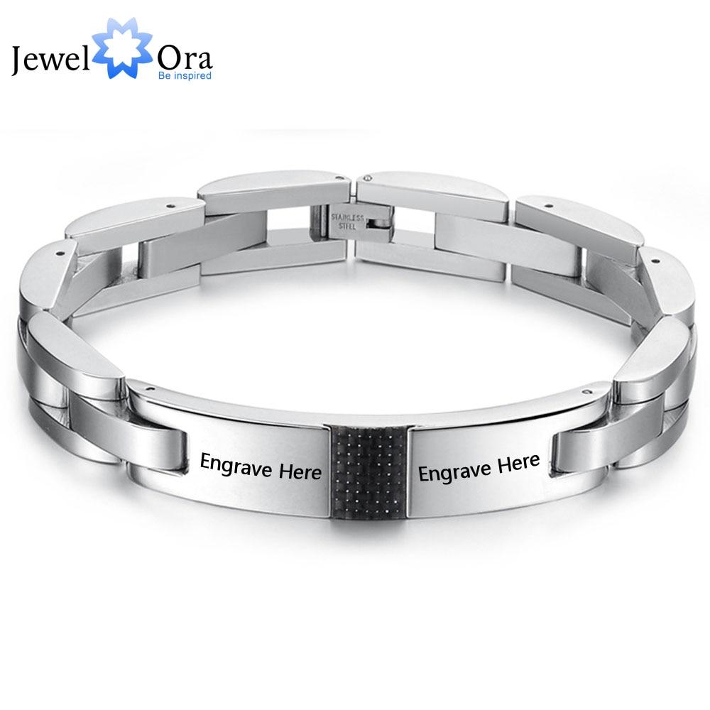 Personalized Engrave Hologram Bracelets For Men Custom Text 215mm Stainless  Steel Bracelets & Bangles (jewelora Ba101441)