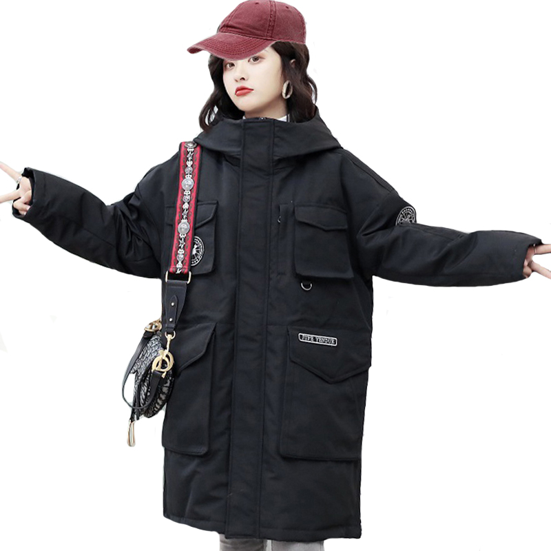 2019 New Design Winter Women Down Jacket Oversized Loose Solid Female Winter Coat Hooded Long Parka Korean Style