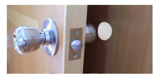 "Купить с кэшбэком 3.25"" 2pcs White Door Stop Knob Handle Wall Shield Plate Protectors Self Adhesive"