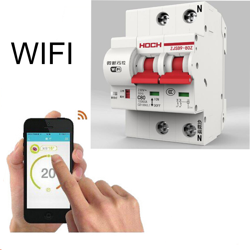 2P 40A 63A Remote Control Timing Switch Delay Set Function Automatic Lock Intelligent Recloser Wifi Circuit Breaker2P 40A 63A Remote Control Timing Switch Delay Set Function Automatic Lock Intelligent Recloser Wifi Circuit Breaker