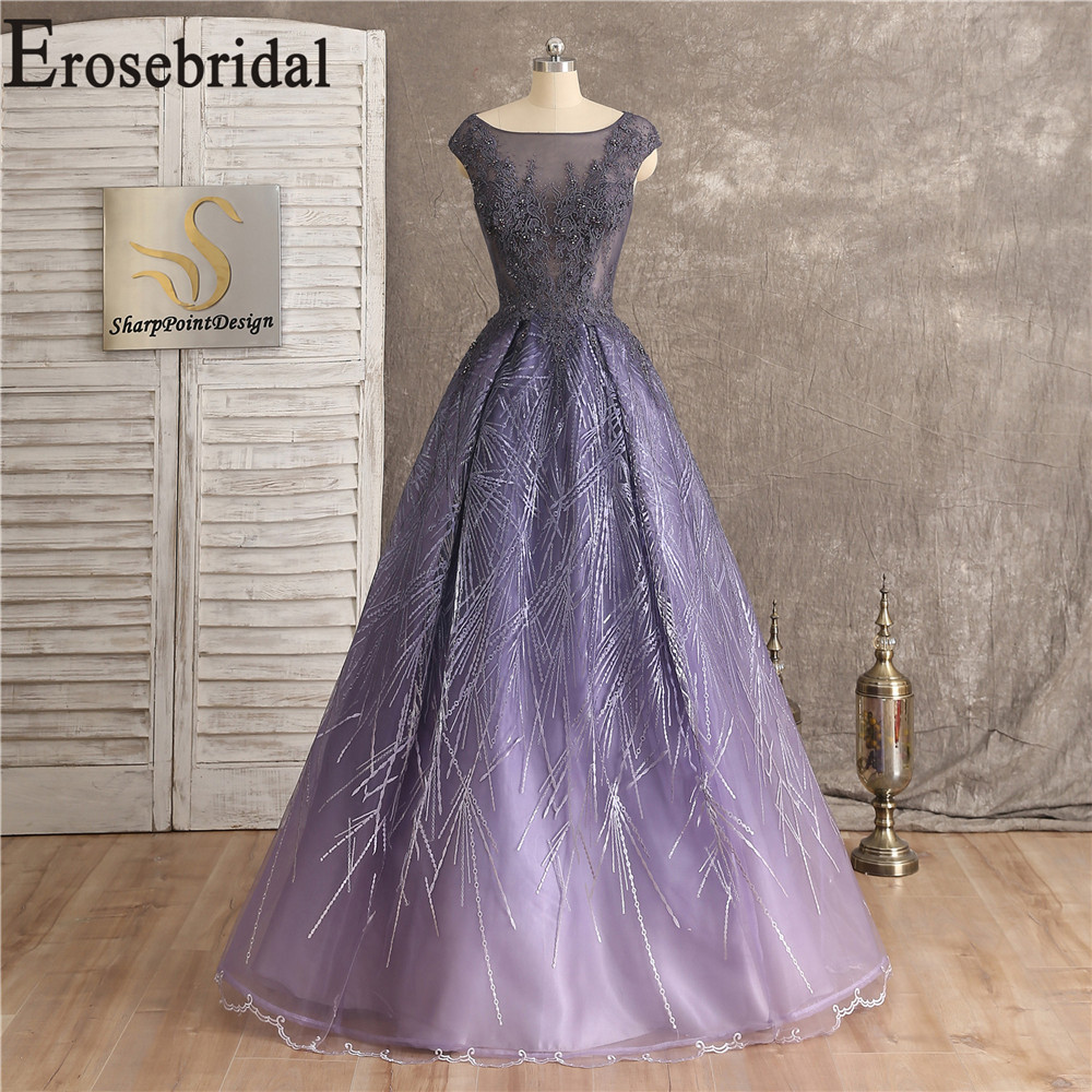 Light Purple   Dress   Elegant   Evening   Long   Evening     Dress   2019 Formal   Dresses     Evening   Gown Sexy Illusion Bodice with Lace