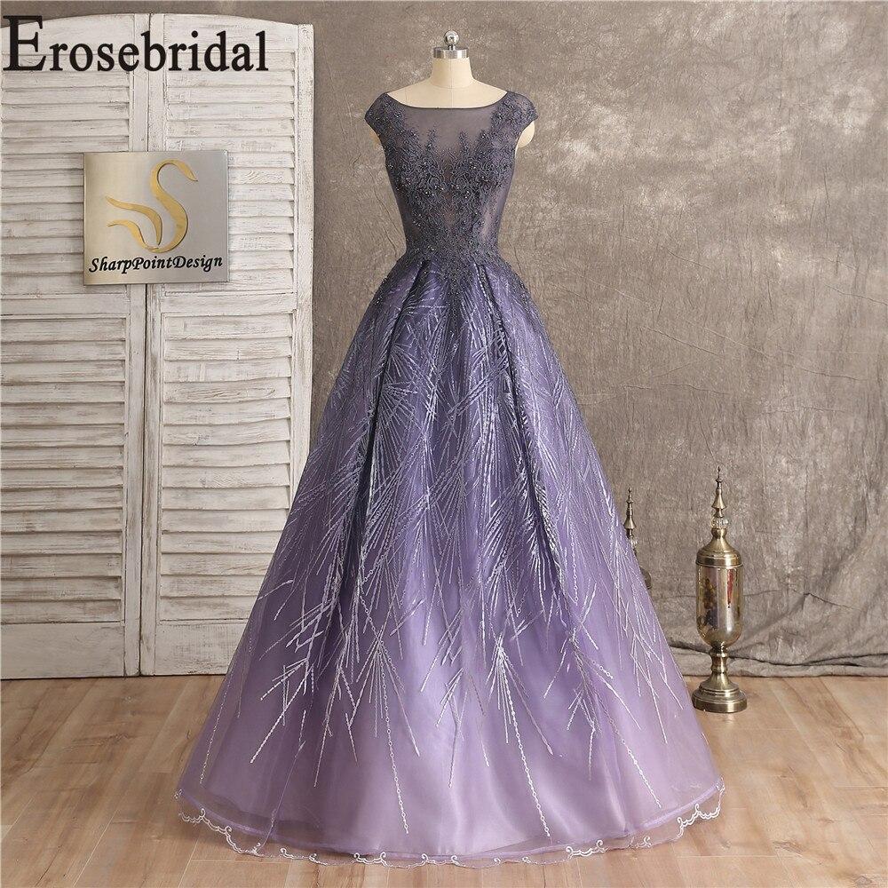 Robe violet clair soirée élégante longue robe de soirée 2019 robes formelles robe de soirée Sexy Illusion corsage avec dentelle