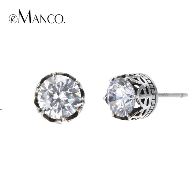 e-Manco 925 Sterling Vintage Silver Zircon Earrings Wedding&Engagement Prevent A