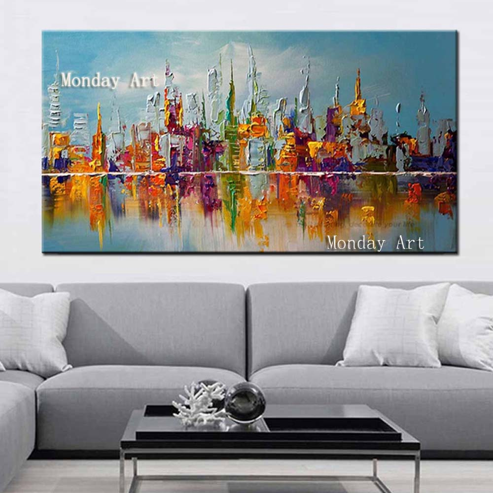Handpainted-Abstract-Knife-Oil-Paintings-on-Canvas-Home-Decor-Wall-Art-Pictures-Large-Colorful-Graffiti-City (2)