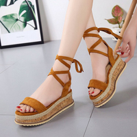 2019 Women Lace up Fasion Platform Sandals High Heel Strap Sandals Causal Women Vacation Shoes Mujer Sandals XWZ5147