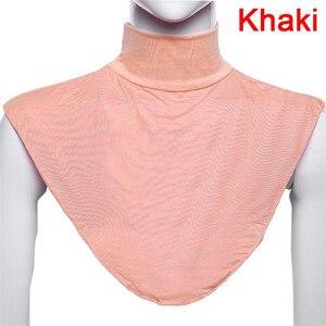 Image 5 - Terokk Vrouwen Modale Valse Kraag Hijab Moslim Islamitische Pure Kleur Hals Cover Loop Sjaal Nep Coltrui T shirt Kraag