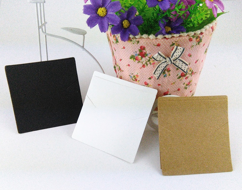 200PCS/Lot 8x8cm Kraft Paper Jewelry Cards 3 Color Blank Necklace Cards Jewelry Display Card Accept Costom Logo