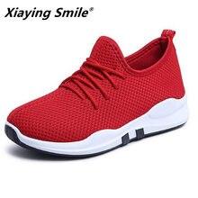 db4fc3a91 Xiaying Sorriso 2018 Mulheres Luz Tênis Verão Malha Running Shoes  Formadores Senhora zapatillas Walking Esporte Ao