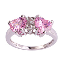 lingmei Wholesale Heart Cut Pink & White Topaz 925 Silver Ring Size 7 8 9 10 Fashion Popular Love Style Women Gift Free Shipping