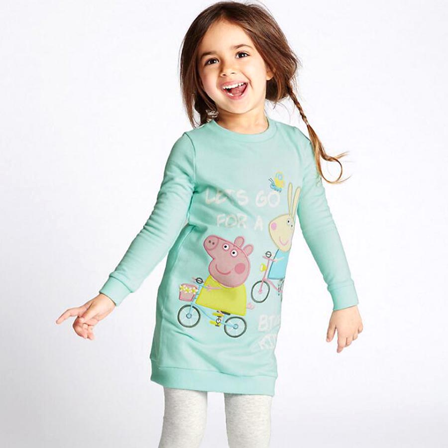 18M 24M Lovely Cozy Baby Girl dress Kids Girl clothes cotton dresses Child Cartoon long sleeve dresses for girls Fall dress baby girl clothes kids baby girls long sleeve o neck dress one piece dots deer cotton dresses toddlers clothes kids dress