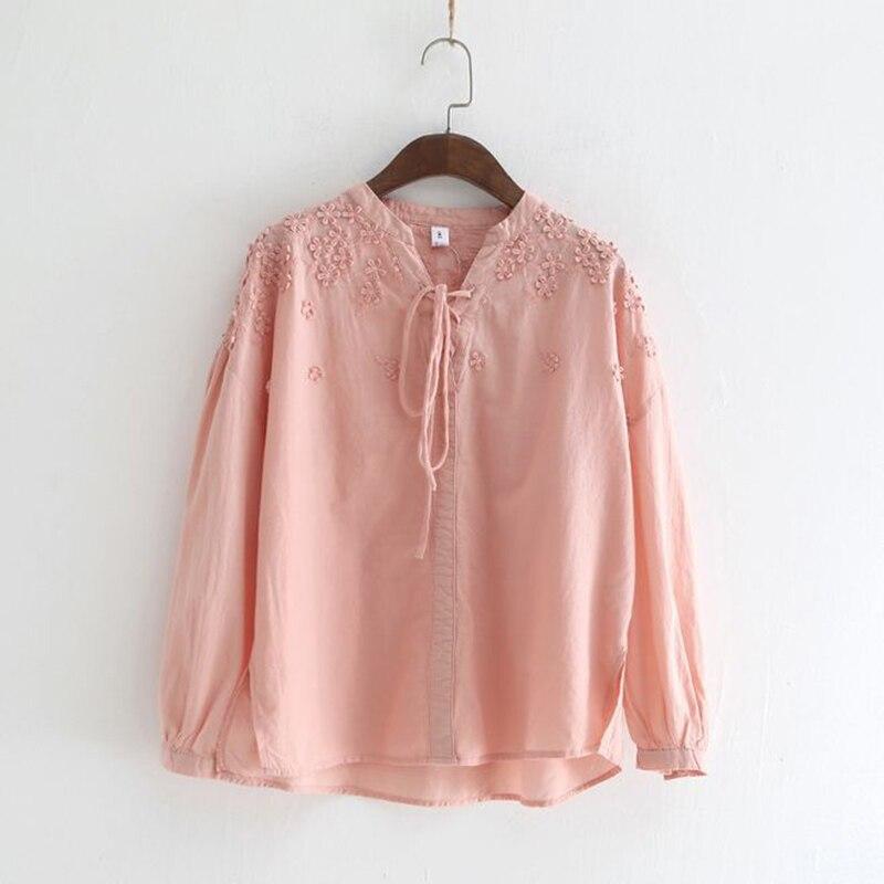 2018 blanc broderie Floral coton à manches longues femmes hauts et chemisiers solide haut d'été Style japonais Lolita haute qualité 8816