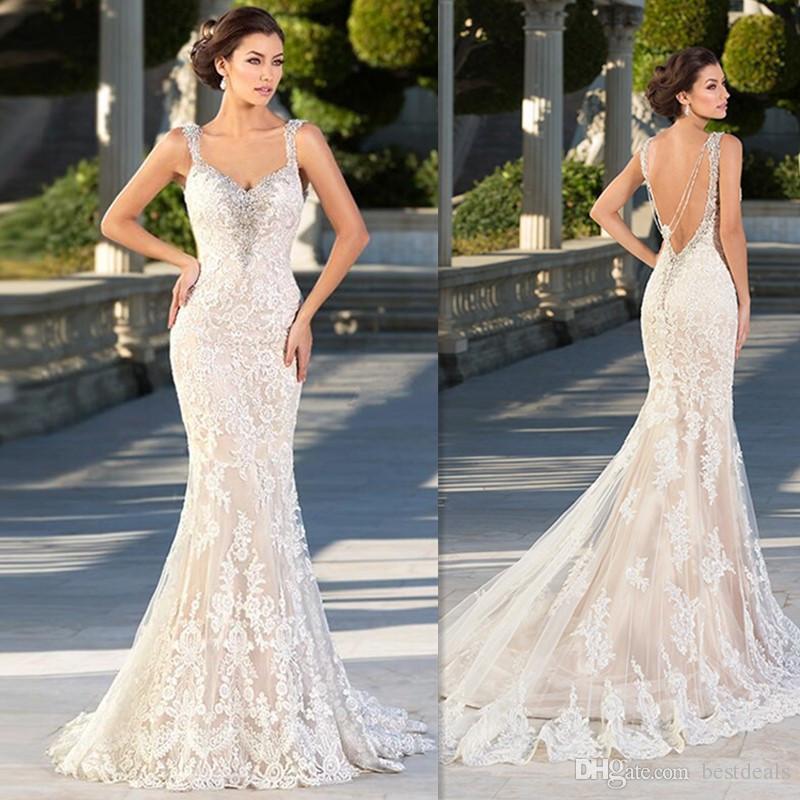 Image 3 - 2019 Boho Chic Wedding Dresses Spaghetti Straps Twist Lace Chiffon Mermaid Open Back Bohemian Dress Bridal GownWedding Dresses   -