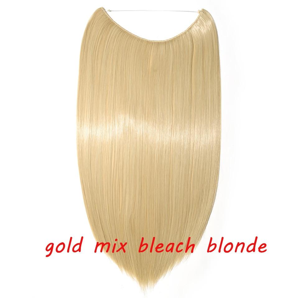 S-noilite 20 дюймов невидимый провод без заколки для волос Расширения секретная Рыбная линия шиньоны шелковистые прямые настоящие натуральные синтетические - Цвет: 86 mix 613