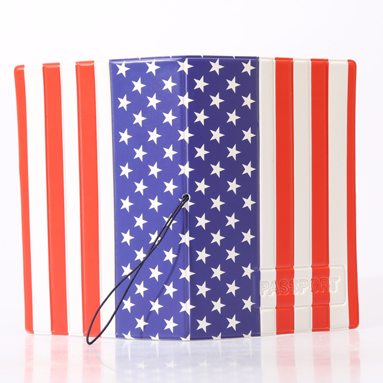 UandU Cartoon Passport Cover for Travel,PU Leather credit card holder with size 14*9.6 cm,passport holder -American Flag