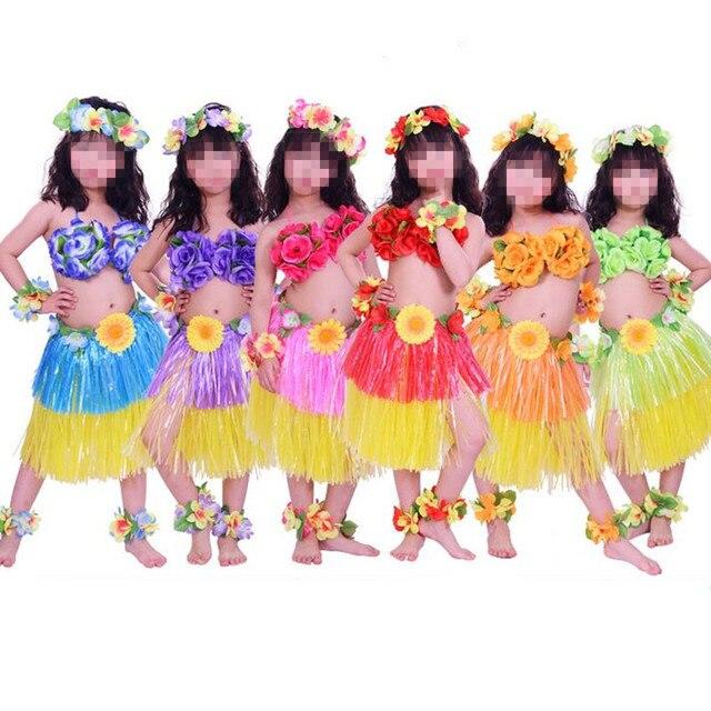 Children Colorful Lei Hula Skirts Headband Garland Wristband Foot Band Bra Performance Cosumes Set Hawaii Tropical  sc 1 st  AliExpress.com & Children Colorful Lei Hula Skirts Headband Garland Wristband Foot ...