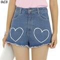 2016 Calções de Verão Mulheres Cintura Alta Amor Bordado Denim Shorts Feminino Perna Larga Feminino Curto Short Jeans Tamanho Grande FL0027