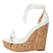 Women Summer Butterfly Knot Solid White Open Toe Sandals Fashion Platform High Wooden Heel Wedge Shoes Ankle Bowtie Dress Shoes цены онлайн