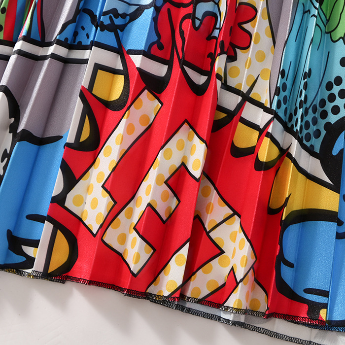 2020 New Summer Skirts Womens Butterfly Catroon Print Empire High Waist Elastci Pleated Midi Skirt European High Street Style 29