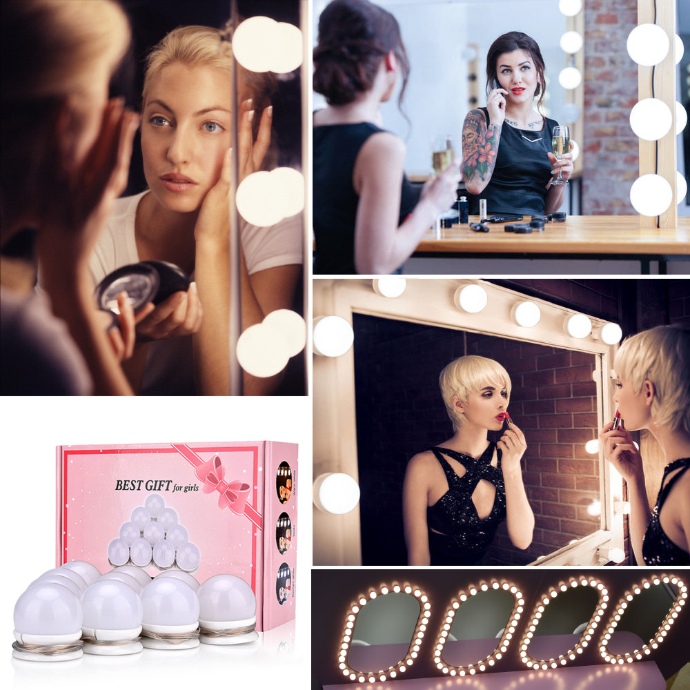 Led Vanity Mirror Makeup Light Bulbs Kit 30 Kinds Of Brightness Hollywood Dressing Table Cosmetics Dimmable Wall Lamp 10 Bulbs(China)