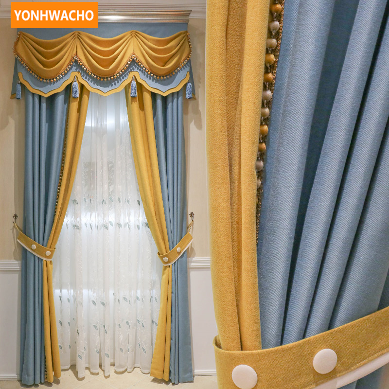Custom curtains Modern minimalist living room European Chevron full shade  cloth blackout curtain tulle valance drape N734 window valance