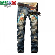 CARTELO Mens biker jeans bird Embroidered jeans mens Straight Famous brand Jeans hommes Motorcycle Distressed long jeans