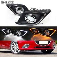 MZORANGE 1 pair DRL For Mazda 3 For Mazda3 Axela 2013 2014 2015 2016 LED DRL Daytime Running Lights Daylight Fog light cover