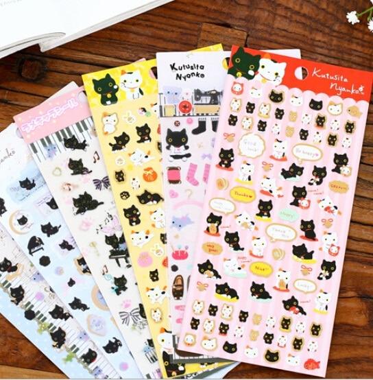 20pack/lot Japan Kawaii Happy Cat series sticker Gilding style DIY deco sticker students diy diary sticker office school supply