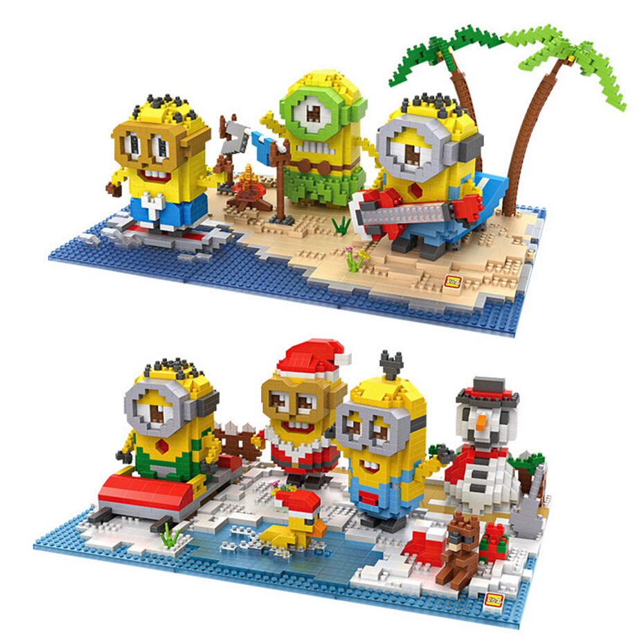 Funny Creator Cartoon images minion summer Island ice snow paradise micro diamond building block figures nanoblock bricks toys цена