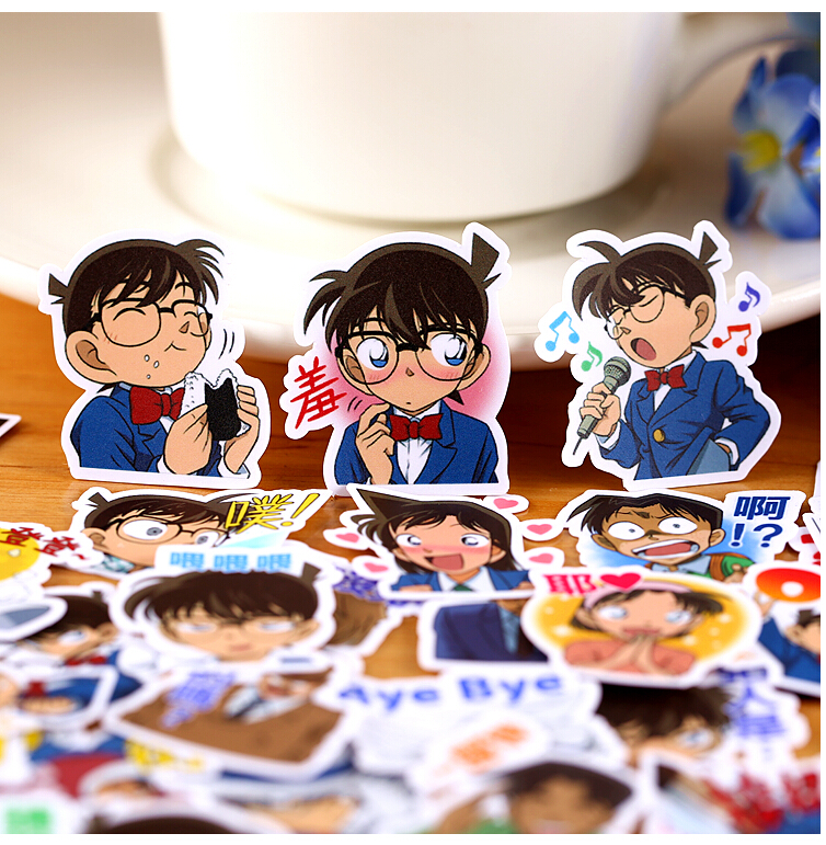40pcs Creative Cute Self-made Detective Conan Sticker Scrapbooking Stickers /decorative Sticker /DIY Craft Photo Albums