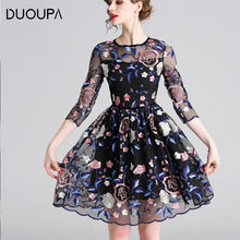 DUOUPA Large Size Summer New Round Neck Hollow Fashion Embroidery Flower Print Womens Elegant OL Dress