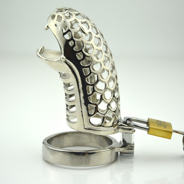 Snake Mouth Stainless Steel Penis Ring Chastity Cage Adult Game Bondage Toys,Erotic Penis Cage Male Chastity Device Sex Toy