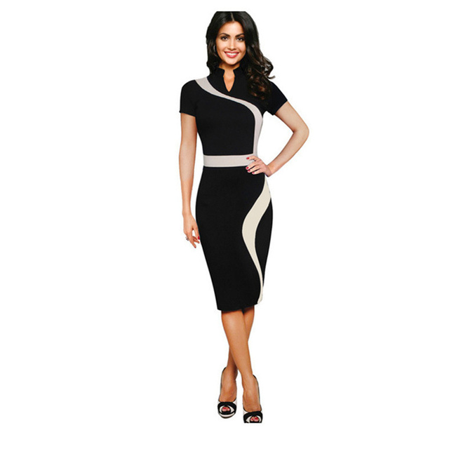 e2e1de41cdd 2017 New Pencil Dress Patchwork Color Sexy Curve Package Hip Dress Summer  Womens Work Outfit Bodycon Sheath Office Dresses