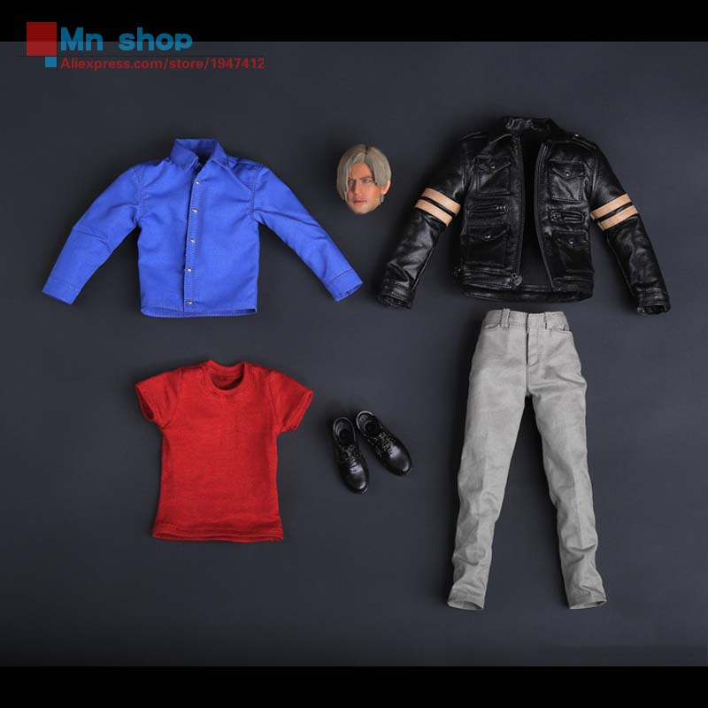 Comanche Toys CT2015005 Resident Evil 6 Zombie Killer Lyon Leather Suit + Head Carving Fit 12Collectible Doll Toys Accessories 1 6 soldier clothes death game bruce lee suit head carving fit 12collectible doll toys accessories