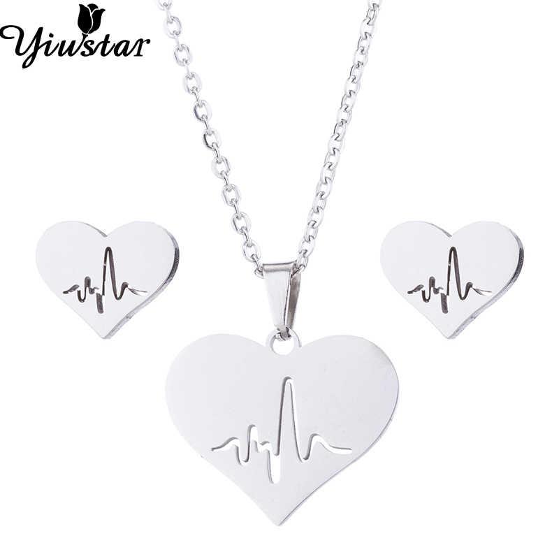 Yiustar Do Amor Do Coração de Aço Inoxidável Jóias Lote Minúsculo ECD Batimentos Cardíacos no Coração Do Amor Colares de Ouro Pingente de Gargantilhas para Presentes de Casamento