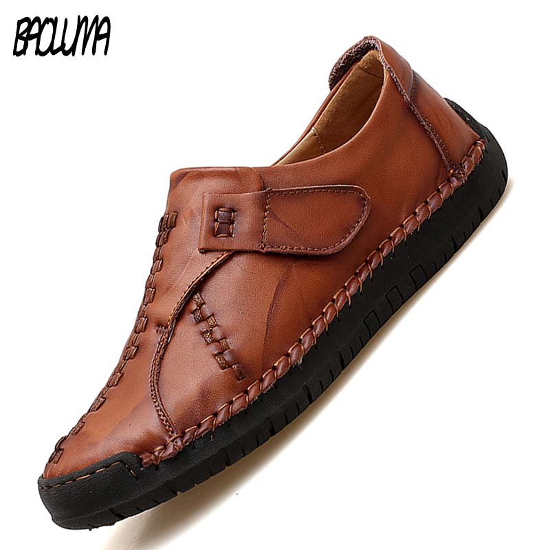 Handmade Genuine Leather Men Casual Shoes Luxury Brand High Quality Mens Loafers Moccasins Black Sneakers Formal Shoes Plus Siz