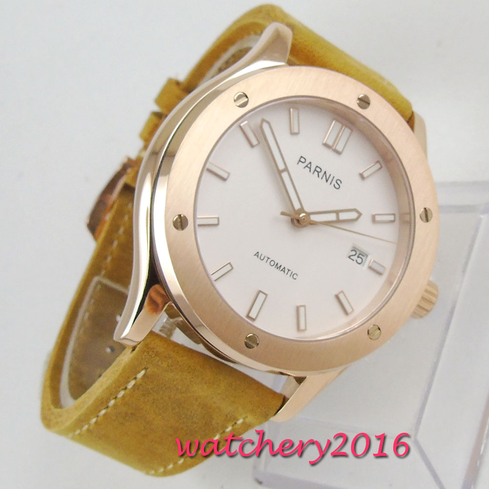 42mm PARNIS White Dial Rose Golden Case Date Sapphire Glass Japan NH35A 24 jewels movement Automatic mechanical men's Wristwatch все цены