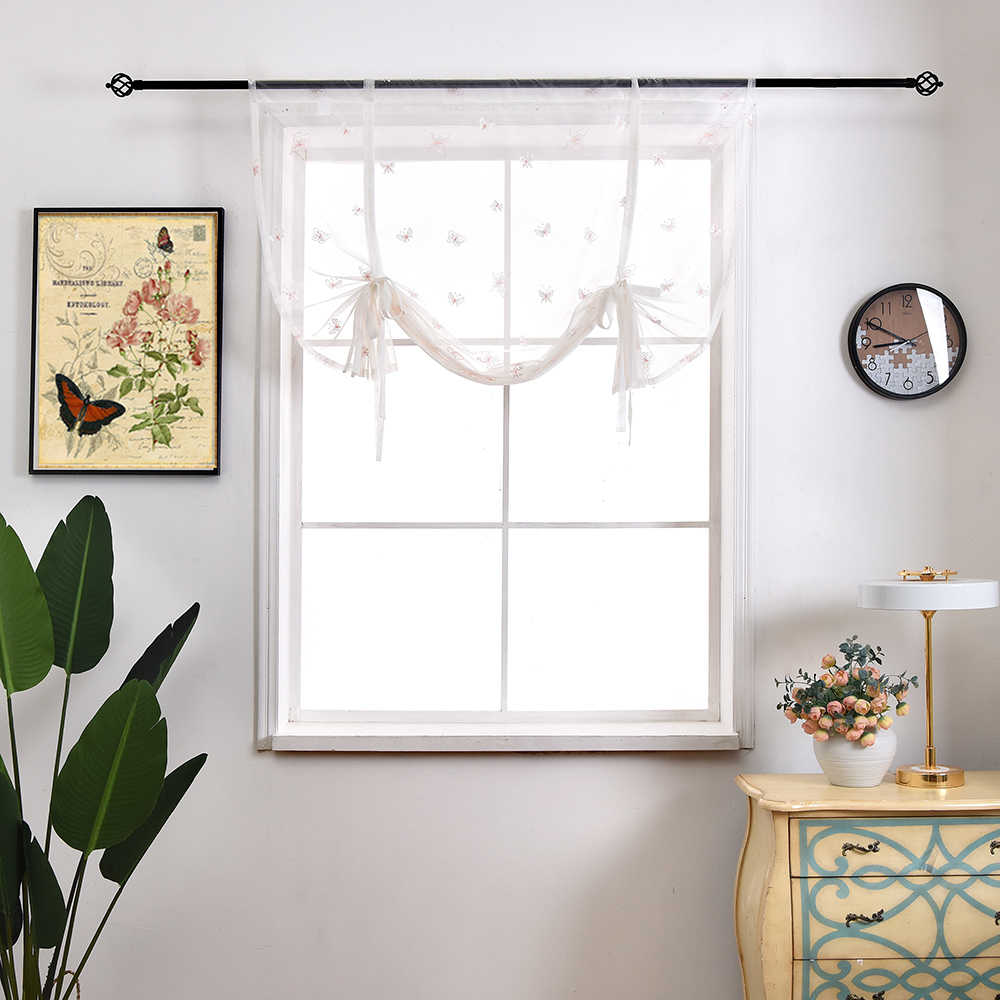 Sinogem Kitchen short curtain High-end Fresh Butterfly embroidery roman blinds sheer panel tulle window treatment door curtain